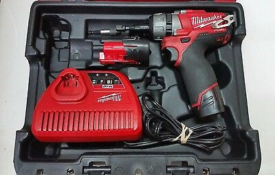 """Milwaukee 2402-20 M12 Fuel 1/4"""" Impact Wrench Kit W/ 2 Batteries And Charger"""
