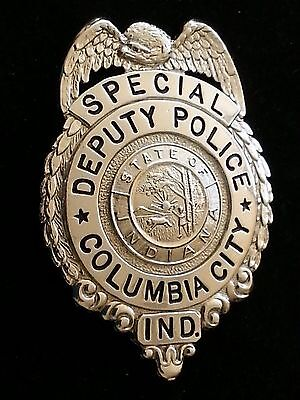 Obsolete Columbia City In Indiana Special Deputy Police Badge Old 40's Hallmark