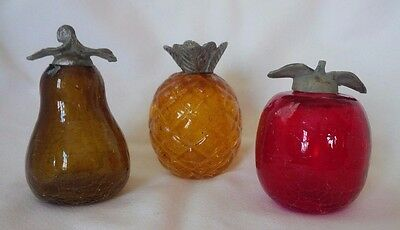 Vintage CRACKLE GLASS Fruit Figurines with Metal Leaves - Apple, Pear, Pineapple