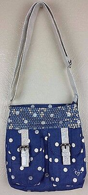 Justice Girls Blue Purse with Poka Dots and Adjustable Opalescent Strap