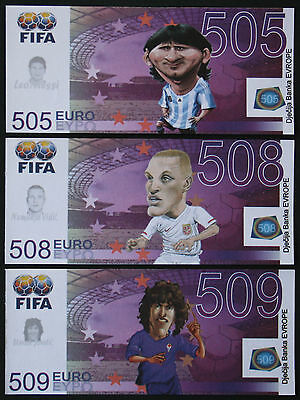 MESSI VIDIC PUYOL - Set of 3 FIFA FANTASY NOTES - 505 508 509 EUROS