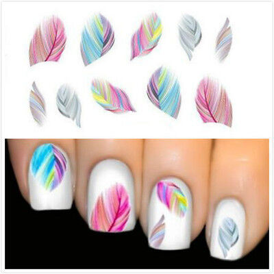 20x Stickers ongles plumes ZIP manucure pédicure déco nails WATER TRANSFER