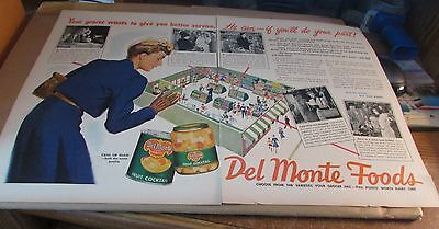 Original Ad-[Old Product]--[1945]--DEL MONTE FOODS---<SHOP WISE>--[2 Page Ad]