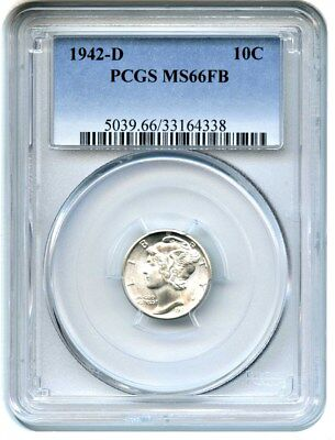 1942-D 10c PCGS MS66 FB - Mercury Dime