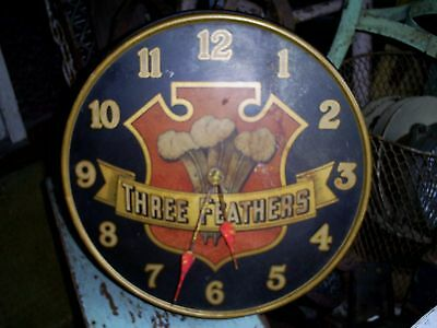 Original 1940's THREE FEATHERS Whiskey Distillery Metal Advertising Clock Sign