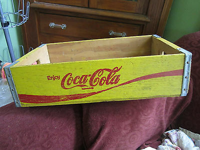 Vintage Coca Cola Wooden Yellow Crate Carrier