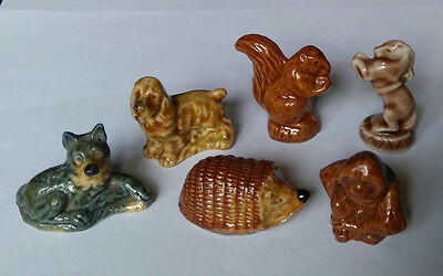 WADE Whimsies X 6 Spaniel, Squirrel, Circus Pony, Alsatian, Hedgehog & Orangutan