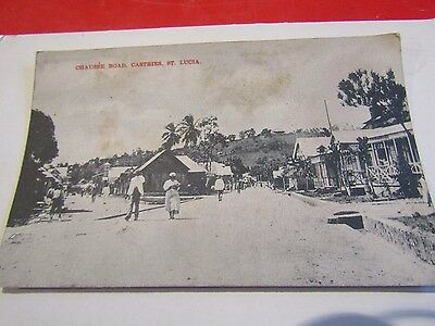 OLD POSTCARD OF chausee road castries st lucia