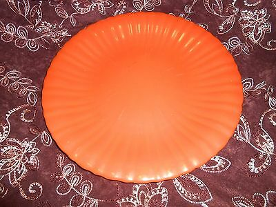 Vintage Stangl Orange Radioactive Red 13 1/2 Inch Plate Scalloped Edges