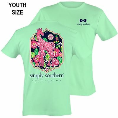YOUTH Size Giraffe & Flowers Simply Southern Cotton Tee Shirt