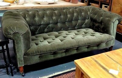 Beautiful Antique Victorian Green Velvet Chesterfield on Mahogany legs and Brass