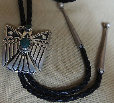 """Hopi Lewis Lomay signd Eagle Bolo """"Book Piece"""" Sterling Silver Natural Turquoise"""