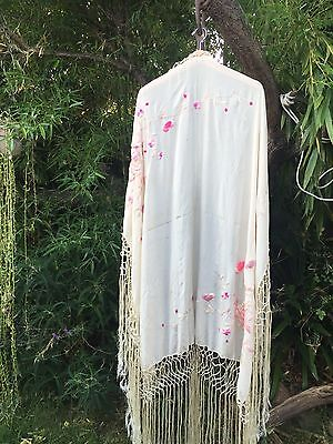 OLD Antique Chinese Embroidered Manton de Manila Silk Piano Shawl Flamenco