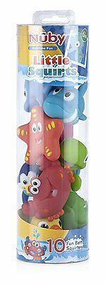 Nuby 9-Pack Little Squirts Fun Bath Toys, Assorted Characters (Missing Octopus)