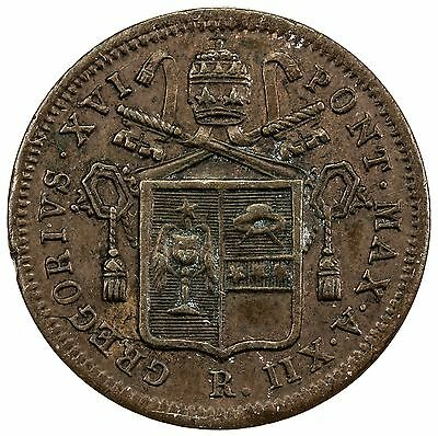 PAPAL/ROMAN STATES: copper 1/2 baiocco, 1842 XII R