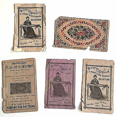 E. S. Frost Turkish Rug Patterns Descriptive Circular Trade Card Advertising Lot