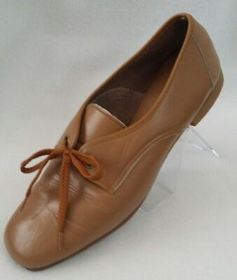 Kraus of California Vtg Womens Shoes Brown Leather Size 9 M Oxford Lace Up Flats