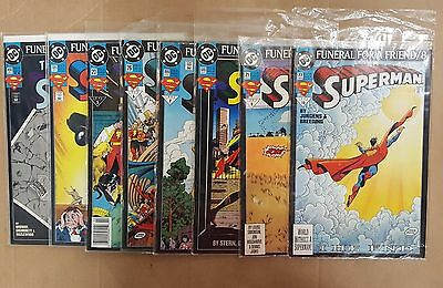Superman Funeral For A Friend Dc Lot Of 8 Comics #1 2 3 4 5 6 7 8