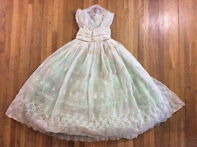 Vtg 1950s Tulle & Lace Satin Dress Prom Formal Party Dress Layered Floral  AS-IS
