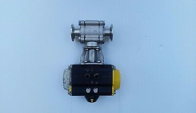 Sharpe CF3M SS Air Actuated Ball Valve with 1 inch Tri-Clamp Process Connection