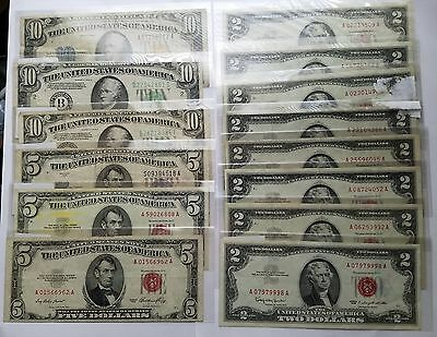 $61 Face Value US Currency Lot $2 Red Seal, $10 notes, $5 Notes, North Africa!