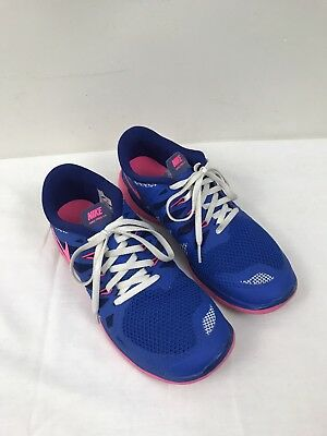 Nike Free 5.0 GS Youth Girls Women's Running Shoes Sneakers Blue and Pink Sz. 7Y