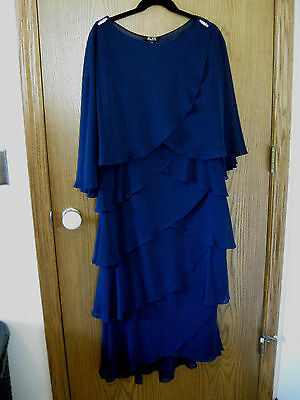 SNLY Navy Blue 2-PC Mother-of-the-Bride Ballet Length Tiered Dress & Cape Sz 12
