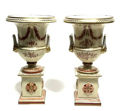 Antique Made In France Hand Painted Old Paris Ornate Pair of Urns