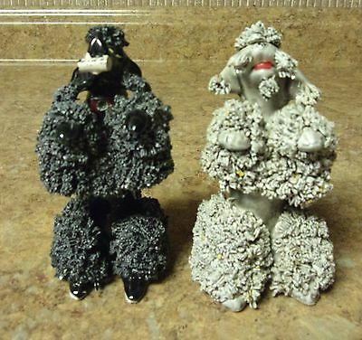 "2 VINTAGE Begging 3 3/4"" Gray & Black SPAGHETTI POODLES Newspaper Jewel collar"
