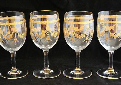 Vintage Set Of 4 Moser Style Etched Optic Glass Gold Encrusted Wine Goblets