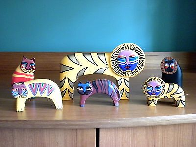 Vintage LAUREL BURCH Carved Wood Hand Painted Assorted Cat Figures-6 in all