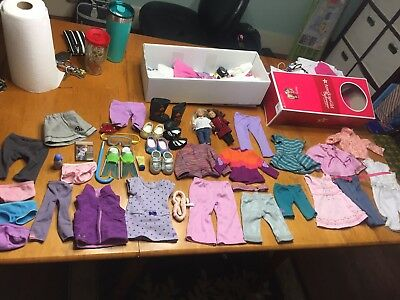 "Huge lot American Girl doll clothing 18"" + box & 2 mini dolls clothes Authentic"