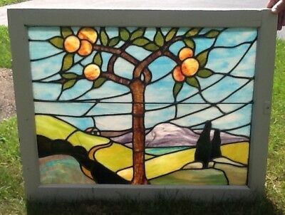 Arts & Crafts Period 1900-1910 Leaded Stained Glass Window Landscape