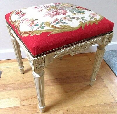 French Country Louis XVI Carved WOOD Foot Stool Ottoman AUBUSSON UPHOLSTERY