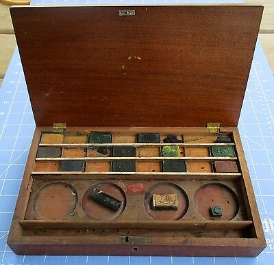Antique 1860s Artist Paint Box Watercolor Blocks Osborne Haehnlen Winson Newton
