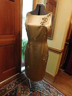 Beautiful Mother Of The Bride Or Groom Or Formal Dress Gold Beaded Silk Size 10