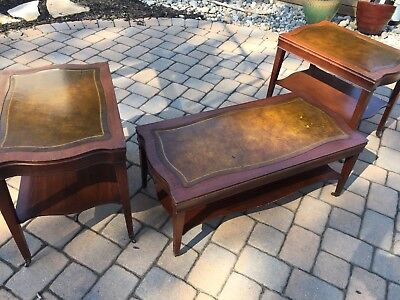 Vintage Mid-Century Leather Top End/Coffee Side Occasional Table Set Mahogany?