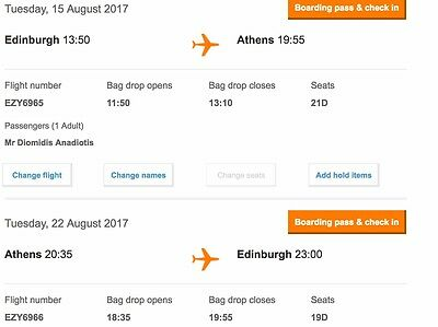 EasyJet Flight - Edinburgh-ATHENS (RETURN) 15 AUG-22 AUG