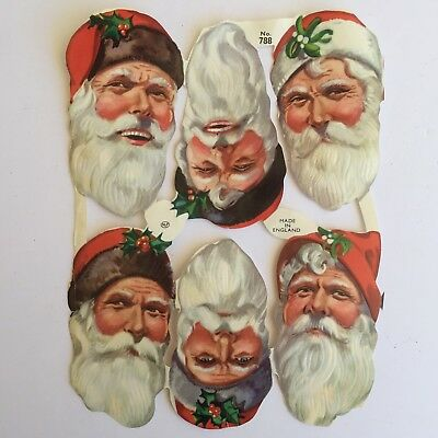"Vintage Scrap Santa Heads MLP England #788 Sheet of 6 Pieces 3"" x 1 3/4"""" Each"