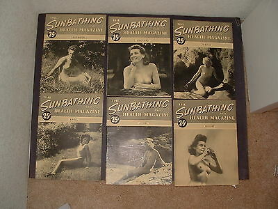 """Lot of 7 Vintage """"The Sunbathing and Health Magazine""""  1945 to 1947"""