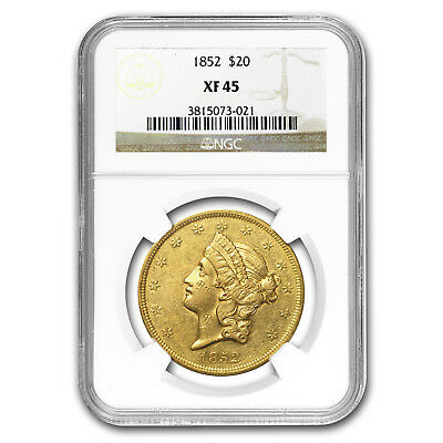 1852 $20 Liberty Gold Double Eagle XF-45 NGC