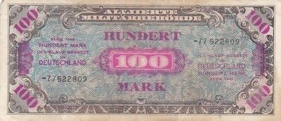 1944 Germany 100 Mark Allied Military Currency Note, Pick 197d