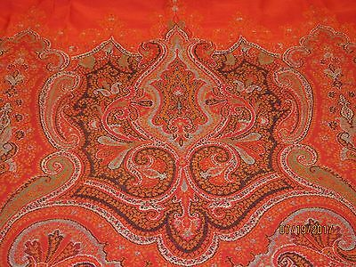 """Antique paisley shawl cutter stunning pattern - 60"""" X 60 .. old linens craft #2"""