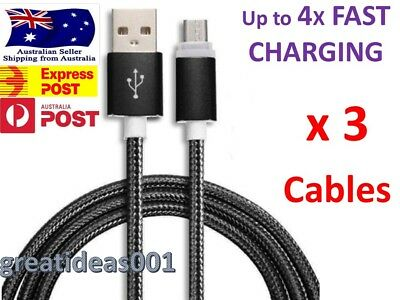 3 x Braided Micro USB Data Sync Charger Cable Cord For Android Samsung LG 2M/ 1M