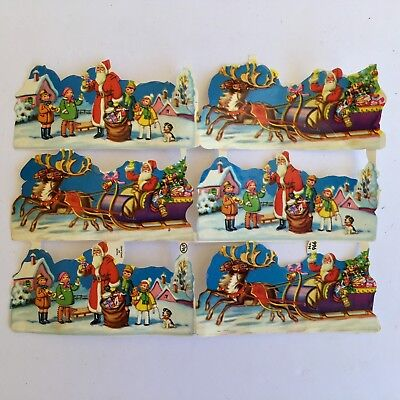 "Vintage Scrap Santas Sleigh MLP England #966 Sheet of 6 Pieces 3"" X 1 1/2"" Each"
