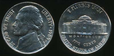 United States, 1989-D 5 Cents, Jefferson Nickel - Uncirculated