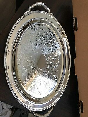New in box Oneida Silverplate Jefferson oval tray with handles 20 inches