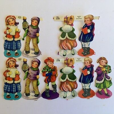 "Vintage Scrap Christmas Carolers MLP England #779 Sheet of 10 2 1/4 x 3/4"" Each"