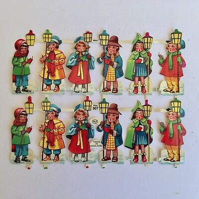 "Vintage Scrap Christmas Carolers MLP England #807 Sheet of 12 2 3/8"" X 15/16"""