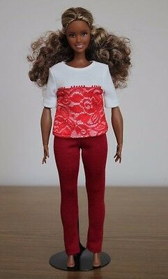 Clothes for Curvy Barbie Doll. T-shirt with lace and Red Leggings for Dolls.
